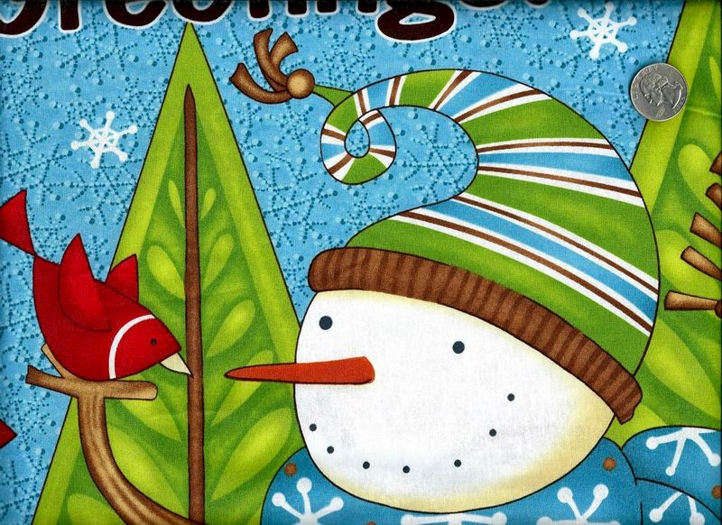Quilt Fabric Panel Swirly Snowmen Christmas Pine Tree Winter - product images  of