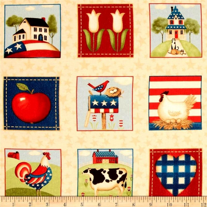 1 Panel Fabric From The Heartland American Patriotic Red White Blue - product images  of