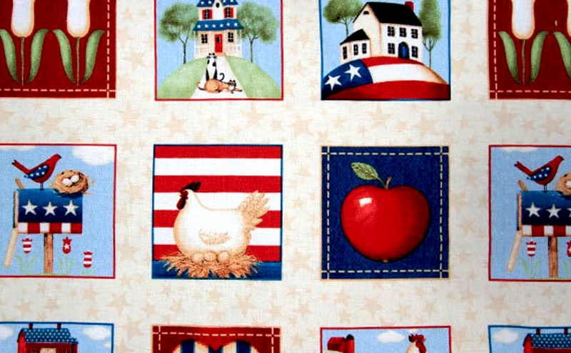 1 Panel Fabric From The Heartland American Patriotic Red