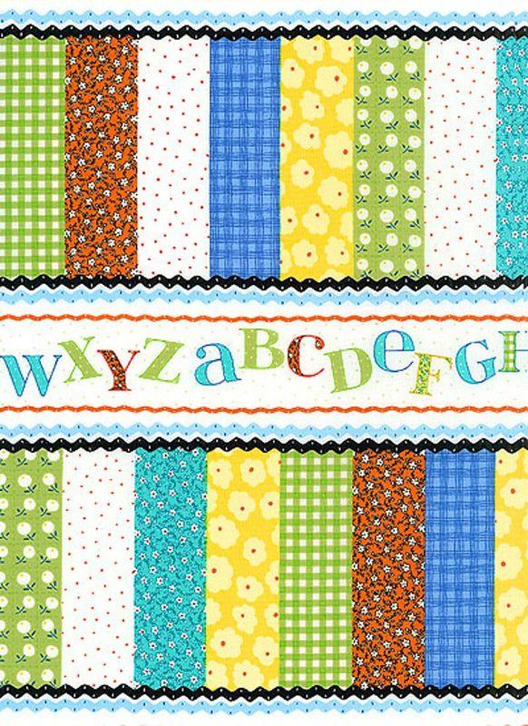 Cotton Quilt Fabric Patchwork Pals Alphabet Cheater Baby