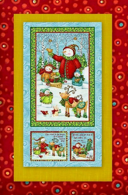 Easy Fabric Panel Quilt Kit Winter Woodland Christmas Snowmen Animals - product images  of