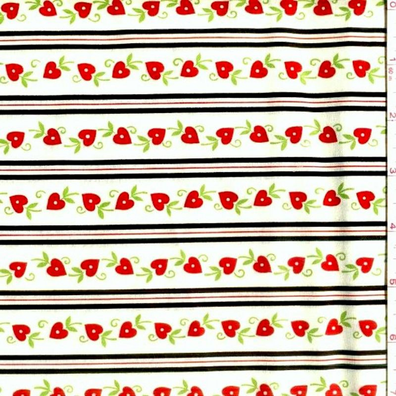 Cotton Quilt Fabric With Love Heart Stripe Floral Valentines  - product image