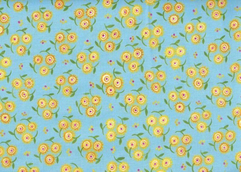 Cotton Quilt Fabric Mooshka Trifloral Blue Folk Art