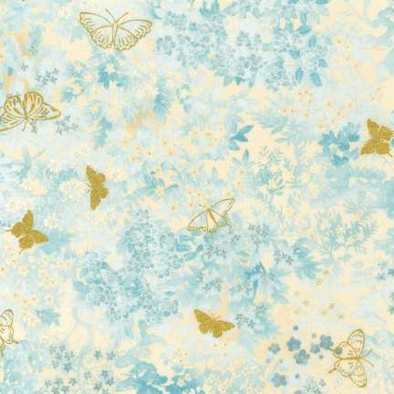 Cotton Quilt Fabric Imperial Collection Butterfly Gold Metallic   - product image