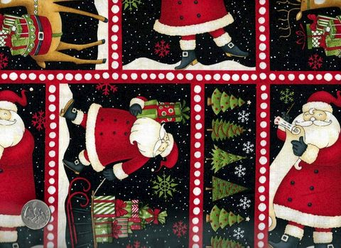 Cotton,Quilt,Fabric,Christmas,Santa's,Gifts,Block,Print,Santa,D,Mumm,quilt fabric,cotton material,auntie chris quilt,sewing,crafts,quilting,online fabric,sale fabric