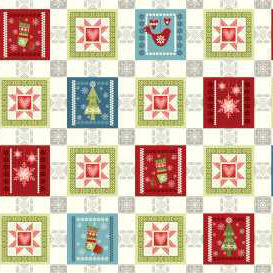 Cotton Quilt Fabric O Christmas Tree Holiday Blocks Trees Snowflakes   - product images  of