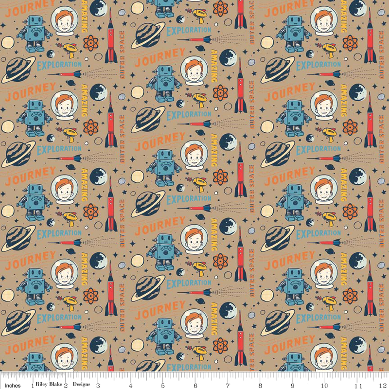 Cotton flannel quilt fabric rocket age space rocket robots for Space themed fleece fabric