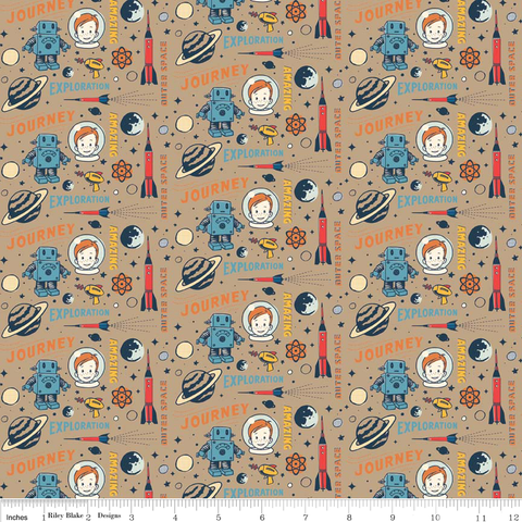Cotton,Flannel,Quilt,Fabric,Rocket,Age,Space,Robots,quilt fabric,cotton material,sewing,crafts,quilting,online fabric,sale fabric