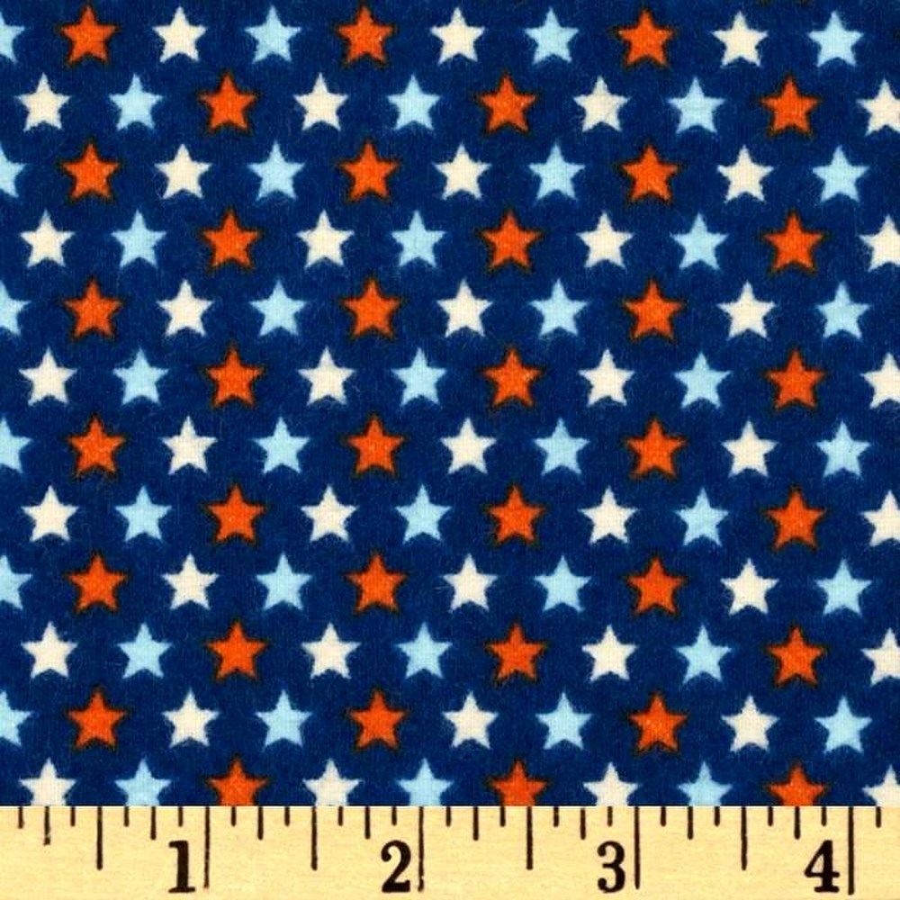 Cotton flannel quilt fabric rocket age stars red white for Flannel fabric