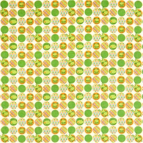 Cotton Flannel Quilt Fabric Frog Dots Riley Blake Green  - product images  of