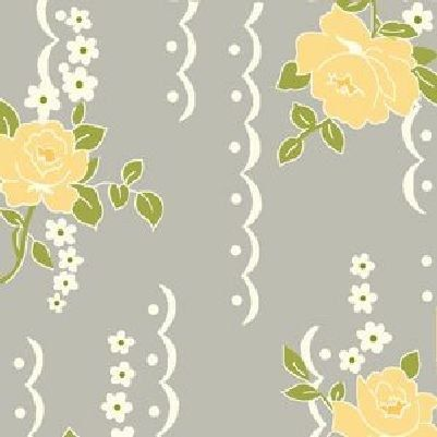 Cotton Quilt Fabric Nine Dots Rose Fabric Shabby Chic Gray Floral - product images  of