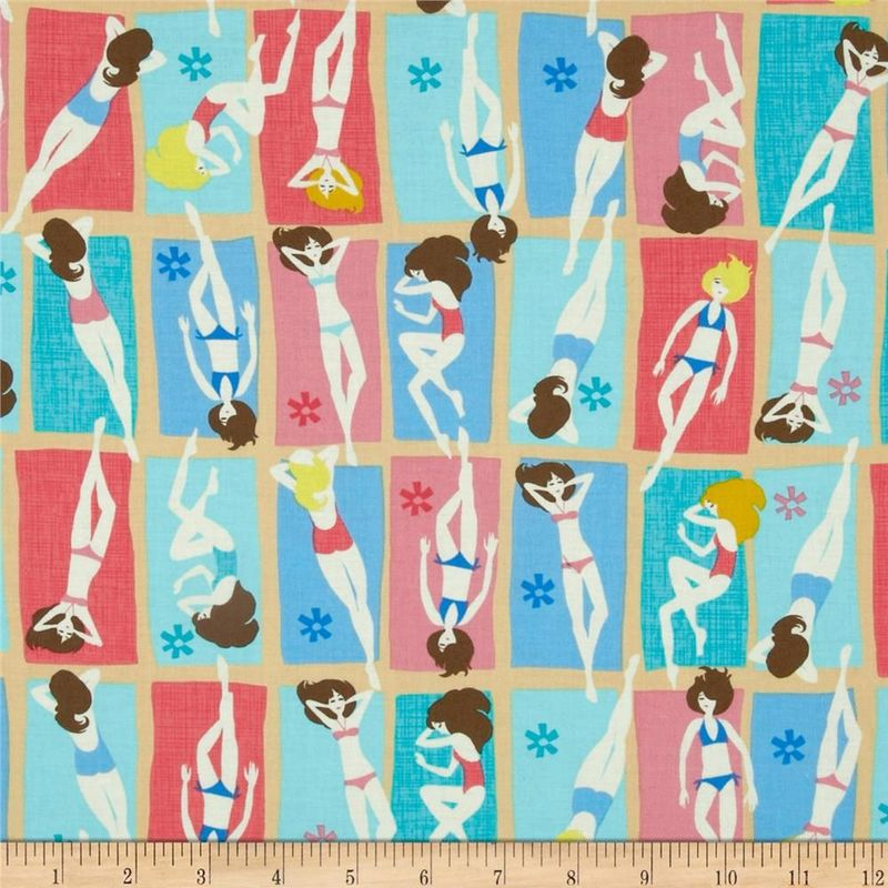 Cotton Quilt Fabric Beach Babe Bright Pink Blue Yellow Cotton  - product images  of