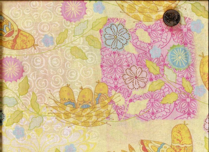 Cotton Quilt Fabric Pretty Bird Quilt Fabric Pastel Yellow