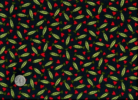 Cotton,Quilt,Fabric,Raining,Cats,Hearts,Fish,Red,Black,230quilt fabric,cotton material,auntie chris quilt,sewing,crafts,quilting,online fabric,sale fabric