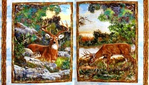 Flannel quilt fabric change of scenery deer fabric for Deer scenery