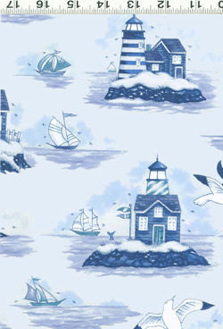 Cotton Quilt Fabric Safe Harbor Nautical Toile Blue And White - product images  of