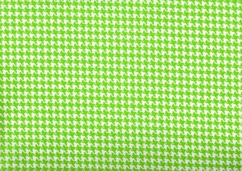 Cotton Quilt Fabric Houndstooth Check Lime Green And White - product image