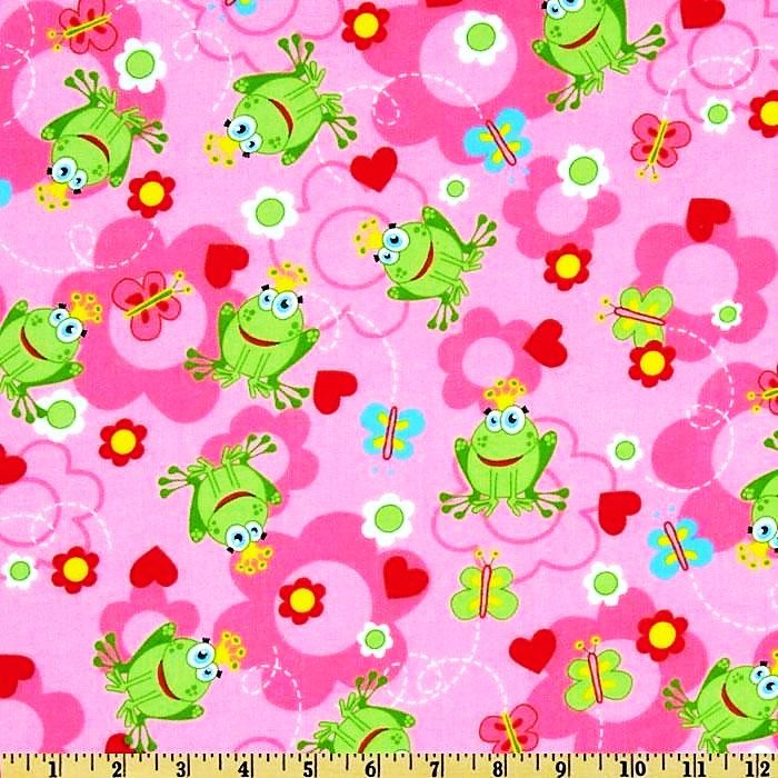 Cotton Quilt Fabric Flannel Frog Prince Girls Hearts