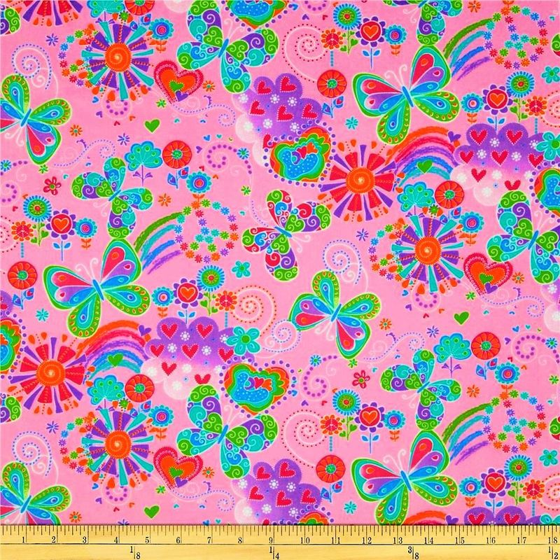 Cotton Quilt Fabric Flannel Butterfly Love Floral Hearts