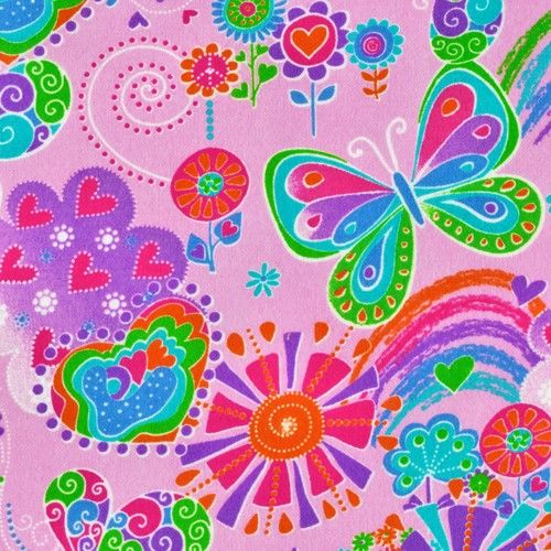 Cotton Quilt Fabric Flannel Butterfly Love Floral Hearts Girly Pink  - product images  of