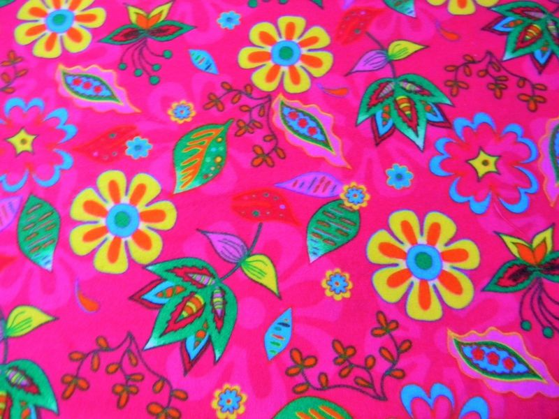 Cotton Quilt Fabric Flannel Graphic Floral Girls Pink - product images  of