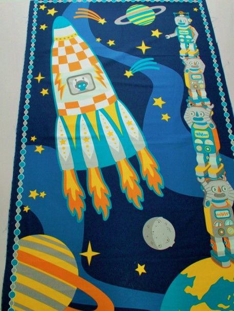 Atomic bots robots in space wall hanging quilt fabric for Space fabric quilt
