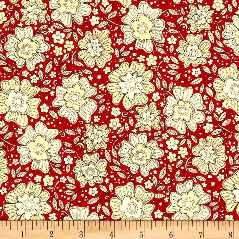 Cotton Quilt Fabric Love More Etched Floral Cranberry Red Black Tan - product image