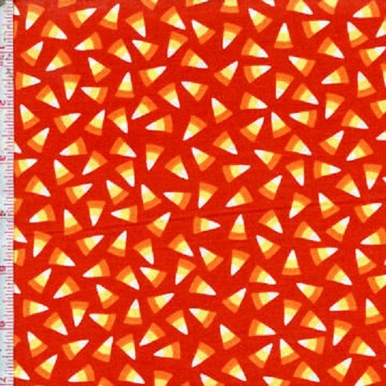 Cotton Quilt Fabric Not So Spooky Halloween Candy Corn Orange - product images  of