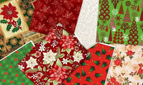 Christmas,Traditions,2,Yard,Fat,Quarter,Quilt,Fabric,Medley,Florals,kit,quilt fabric,cotton material,auntie chris quilt,sewing,crafts,quilting,online fabric,sale fabric