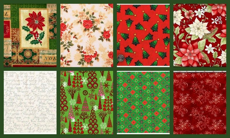 Christmas Traditions 2 Yard Fat Quarter Quilt Fabric Medley Florals - product images  of
