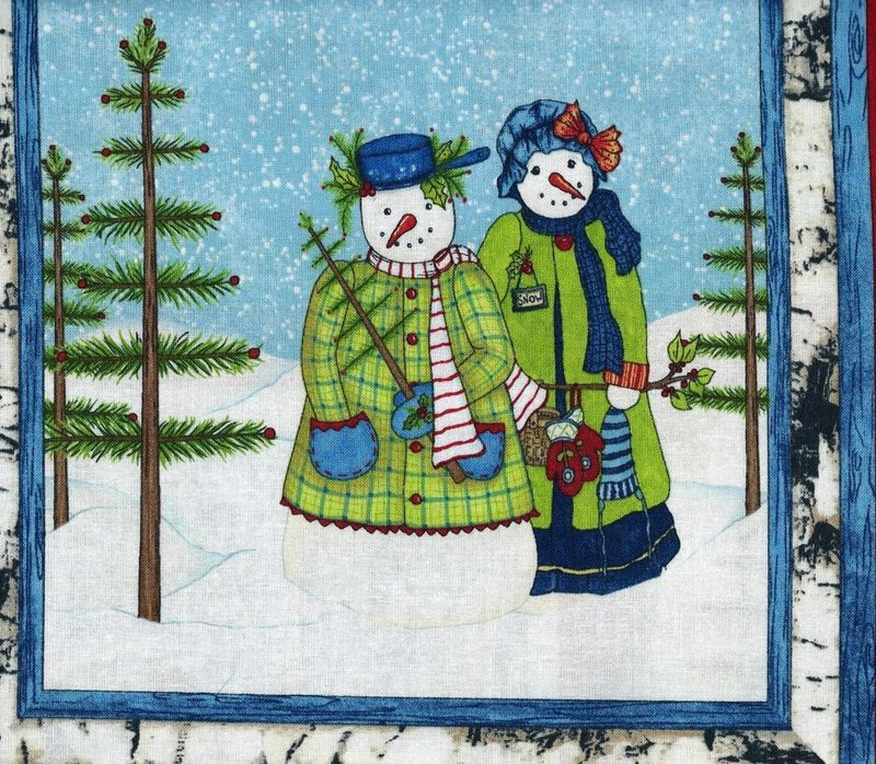 Christmas Quilt Fabric Panel Cool Characters Snowmen