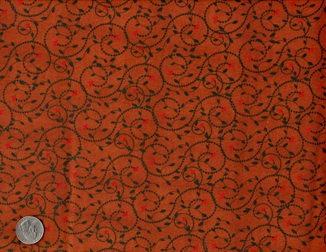 Cotton Quilt Fabric Vine Dot Leaving Riverton Dark Rust Red Green - product image