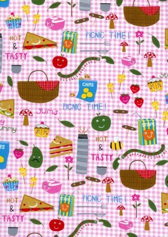 Cotton,Quilt,Fabric,Picnic,Fun,Pink,Gingham,Food,quilt fabric,cotton material,auntie chris quilt,sewing,crafts,quilting,online fabric,sale fabric