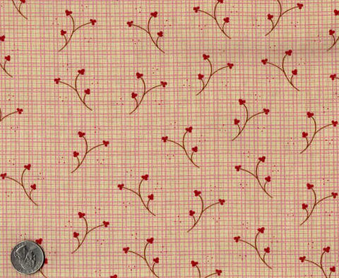 Cotton,Quilt,Fabric,Plaid,Buttonweed,Floral,Pink,Check,Country,quilt fabric,cotton material,auntie chris quilt,sewing,crafts,quilting,online fabric,sale fabric