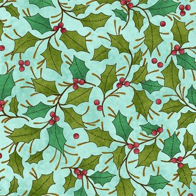 Cotton Quilt Fabric Christmas The Kings Arrival Holly Holiday - product image