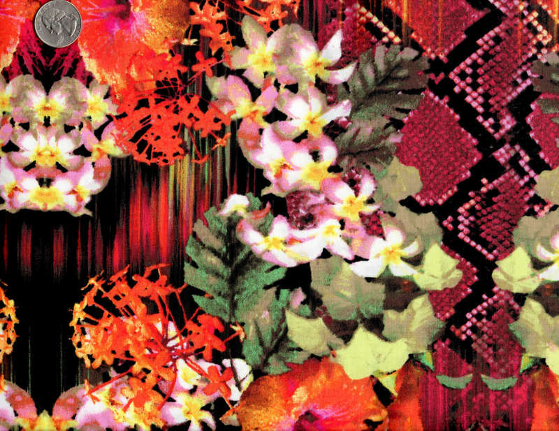 Cotton Quilt Fabric Tropical Snake Floral Orange Red Black  - product images  of
