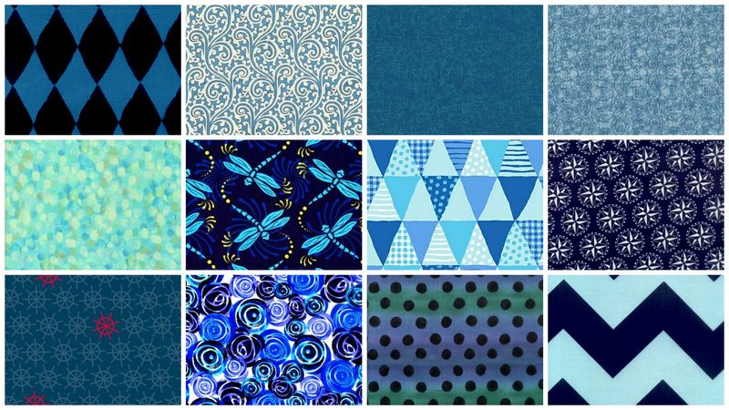 Everything Blue Stash Builder Quilt Fabric Blue Mix 3 Yards - product images  of