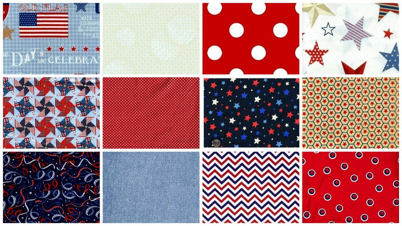 Patriotic Valor Stash Builder Quilt Fabric Red White Blue Mix 3 Yards - product images  of