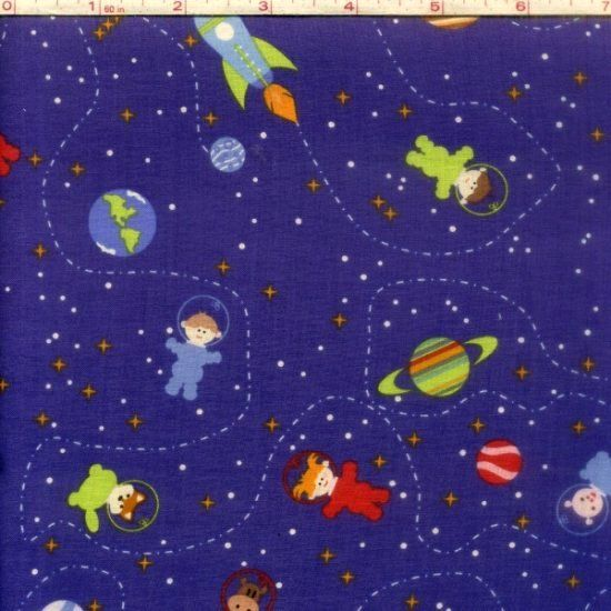 Cotton quilt fabric space age friends dk purple astronauts for Space baby fabric