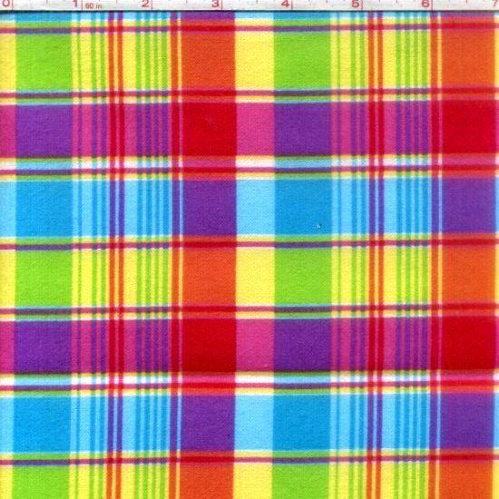 Cotton Quilt Fabric Flannel Madras Plaid Pink Purple Multi