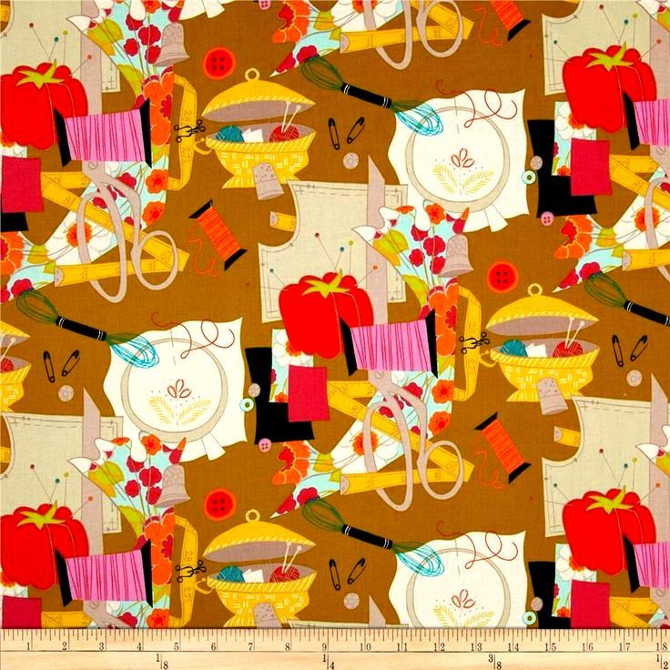 Cotton Quilt Fabric Sew Retro Ochre Alexander Henry - product images  of