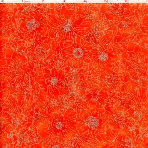 Cotton,Quilt,Fabric,Garden,Paradise,Tonal,Orange,Metallic,quilt fabric,cotton material,auntie chris quilt,sewing,crafts,quilting,online fabric,sale fabric