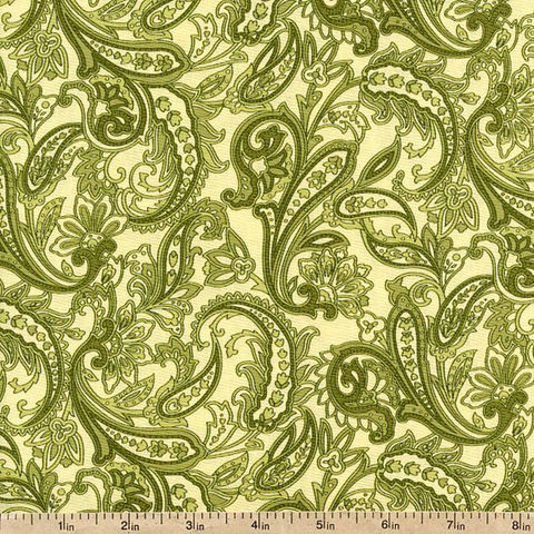 Cotton,Quilt,Fabric,Indian,Summer,Cottage,Paisley,Green,Benartex,quilt fabric,cotton material,auntie chris quilt,sewing,crafts,quilting,online fabric,sale fabric