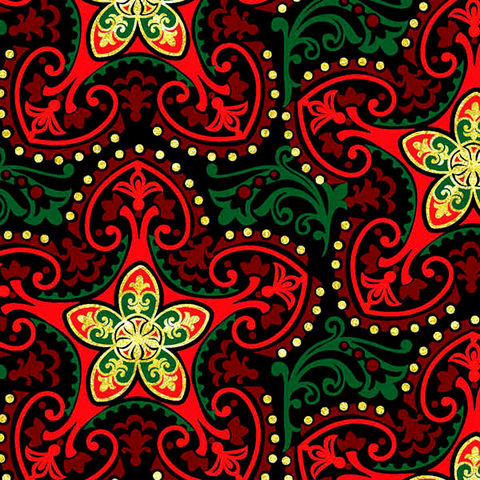 Cotton,Quilt,Fabric,Deck,The,Halls,Metallic,Christmas,Stars,Red/Green,Gold,quilt fabric,cotton material,auntie chris quilt,sewing,crafts,quilting,online fabric,sale fabric