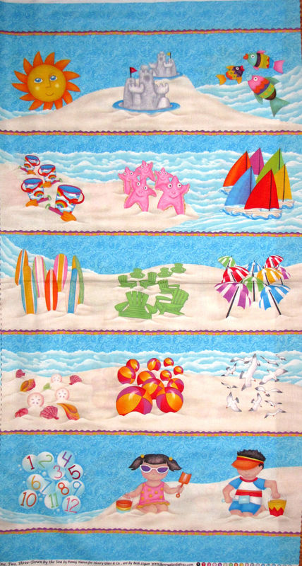 Cotton Quilt Fabric Panel Down By The Sea One Two Three Counting Numbers - product images  of