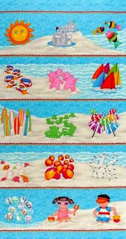 Cotton,Quilt,Fabric,Panel,Down,By,The,Sea,One,Two,Three,Counting,Numbers,quilt fabric,cotton material,auntie chris quilt,sewing,crafts,quilting,online fabric,sale fabric