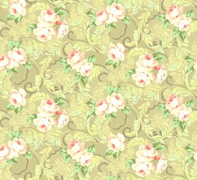 Cotton Quilt Fabric Downton Lace Large Floral Taupe