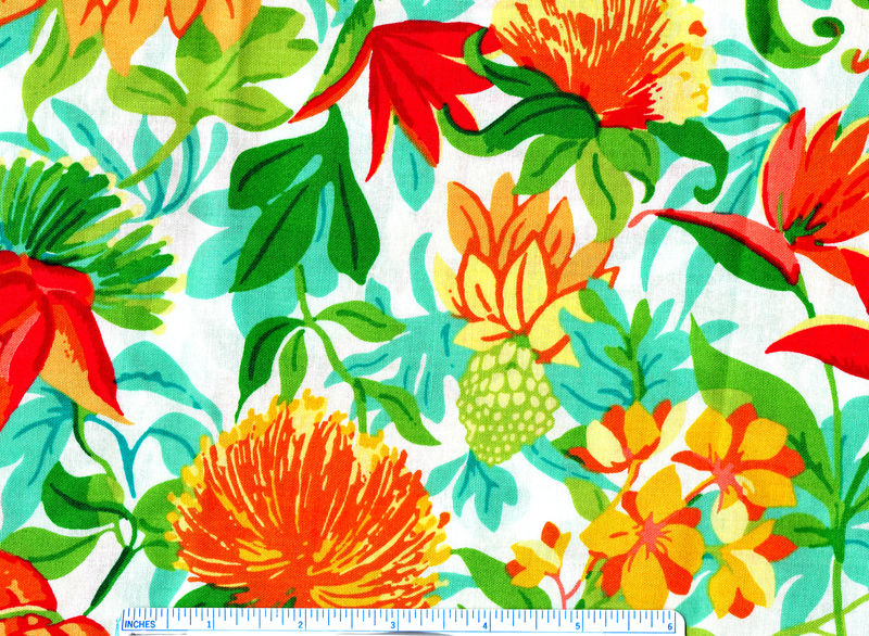 Cotton Quilt Fabric Paradise Grove Large Tropical Floral Multi - product image