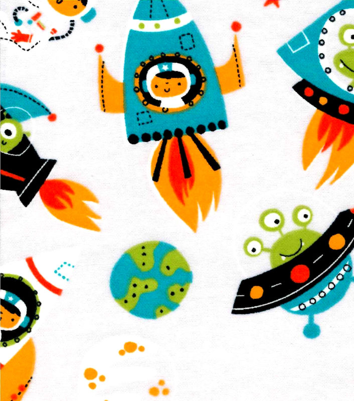 Cotton quilt fabric flannel space men aliens astronauts for Space fleece fabric