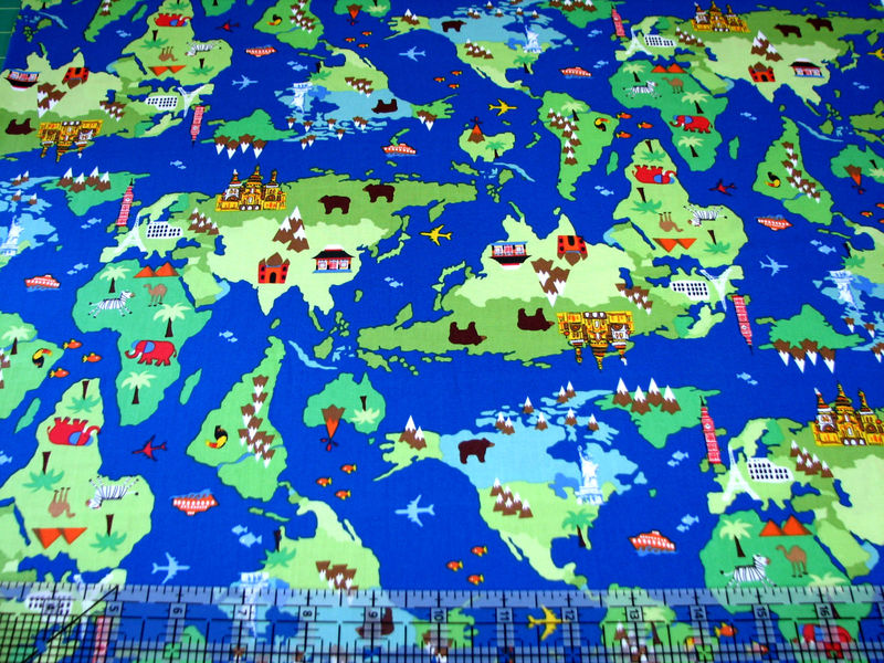 Cotton Quilt Fabric Timeless Treasures World Map Continents Blue